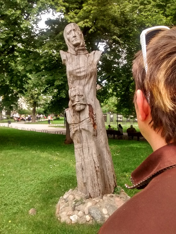Wonderful and creepy wooden art in the park